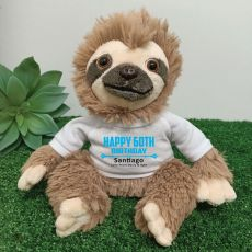 Personalised 60th Birthday  Sloth Plush - Curtis