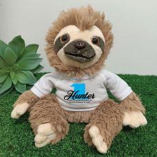 1st Birthday Personalised Sloth Plush - Curtis