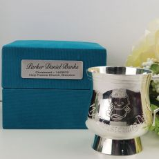 Baby Boy Christening Mug  in Personalised Velvet Box