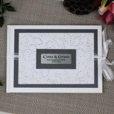 Personalised Engagement Guest Book Keepsake Album - Filigree Sparkle