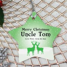 Personalised uncle Christmas Decoration - Star