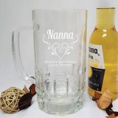 Nana Engraved Personalised Glass Beer Stein