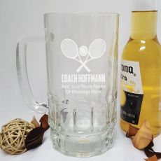 Tennis Coach Engraved Personalised Glass Beer Stein