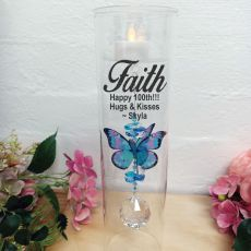 100th Birthday Glass Candle Holder Blue Rainbow Butterfly