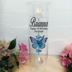 1st Birthday Glass Candle Holder Blue Rainbow Butterfly