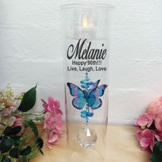 90th Birthday Glass Candle Holder Blue Rainbow Butterfly