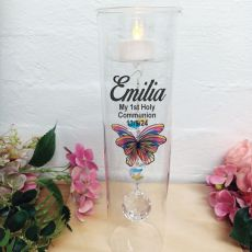 1st Communion Glass Candle Holder Rainbow Butterfly