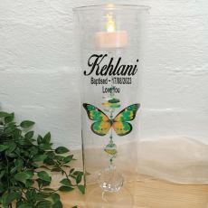 Baptism Glass Candle Holder Green Butterfly