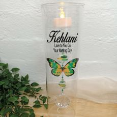 Naming Day Glass Candle Holder Green Butterfly