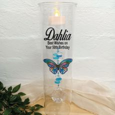 50th Birthday Glass Candle Holder Blue Stripe Butterfly