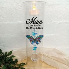 Mum Glass Candle Holder Blue Stripe Butterfly