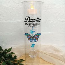 Naming Day Glass Candle Holder Blue Stripe Butterfly