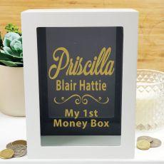 Personalised First Money Box Photo Insert - Black Swirl