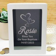 Christening Personalised Money Box Photo Insert - Black