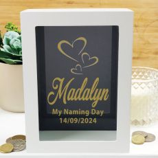 Naming Day Personalised Money Box Photo Insert - Black