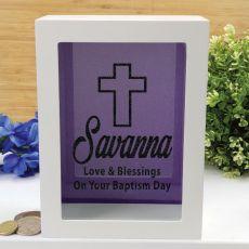 Baptism Personalised Money Box Photo Insert - Purple