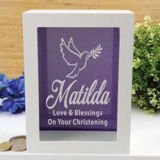 Christening Personalised Money Box Photo Insert - Purple
