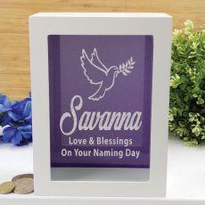 Naming Day Personalised Money Box Photo Insert - Purple