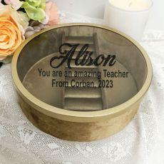 Teacher Jewellery Box Gold Velvet Round
