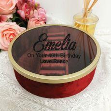 40th Birthday Jewellery Box Red Velvet Round