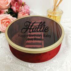 Personalised Birthday Jewellery Box Red Velvet Round