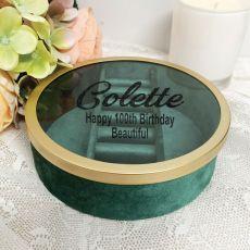 100th Green Velvet Round Jewellery Box