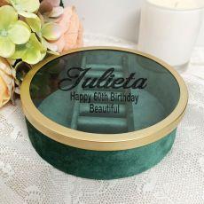 60th Green Velvet Round Jewellery Box