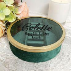 80th Green Velvet Round Jewellery Box