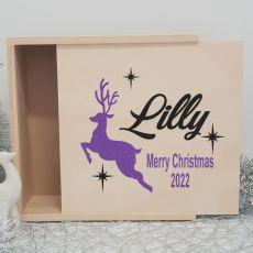 Personalised Wooden Christmas Box Large - Reindeer