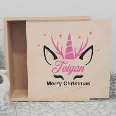 Personalised Wooden Christmas Box Large - Unicorn