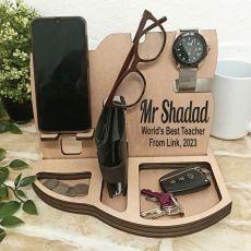 Teacher Personalised Phone Docking Station Desk Organiser