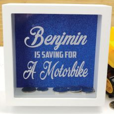 Personalised Saving For Money Box - Blue