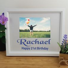 21st Birthday Personalised Photo Frame 4x6 Glitter White
