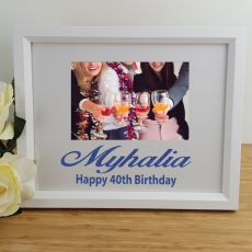 40th Birthday Personalised Photo Frame 4x6 Glitter White