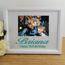 50th Birthday Personalised Photo Frame 4x6 Glitter White