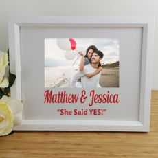 Engagement Personalised Photo Frame 4x6 Glitter White