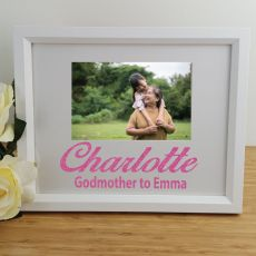 Godmother Personalised Photo Frame 4x6 Glitter White
