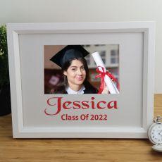 Graduation Personalised Photo Frame 4x6 Glitter White