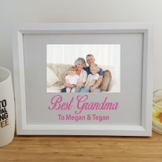 Grandma Personalised Photo Frame 4x6 Glitter White