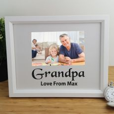 Grandpa Personalised Photo Frame 4x6 Glitter White