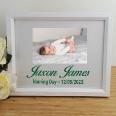 Naming Day Personalised Photo Frame 4x6 Glitter White