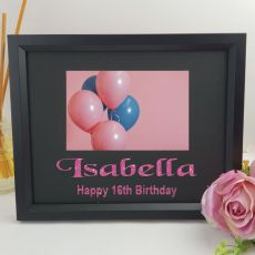 16th Birthday Personalised Photo Frame 4x6 Glitter Black