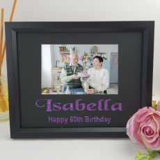 60th Birthday Personalised Photo Frame 4x6 Glitter Black