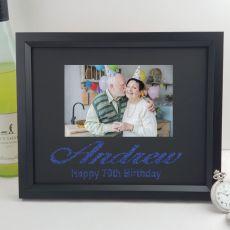70th Birthday Personalised Photo Frame 4x6 Glitter- Black