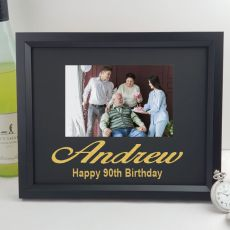 90th Birthday Personalised Photo Frame 4x6 Glitter - Black