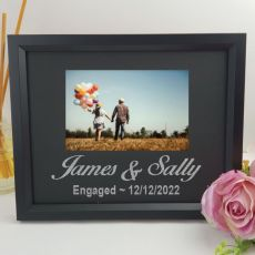 Engagement Personalised Photo Frame 4x6 Glitter Black