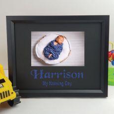 Naming Day Personalised Photo Frame 4x6 Glitter Black