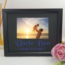Uncle Personalised Photo Frame 4x6 Glitter - Black