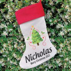 Personalised Christmas Stocking - Christmas Tree