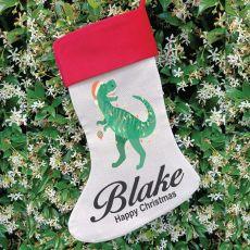 Personalised Christmas Stocking - Dinosaur